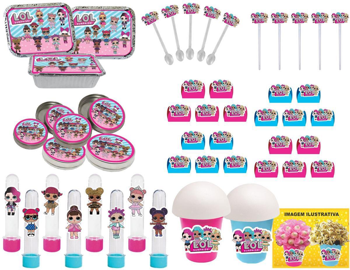 kit festa  Lol Surprise (pink e azul claro) 292 peças (30 pessoas)