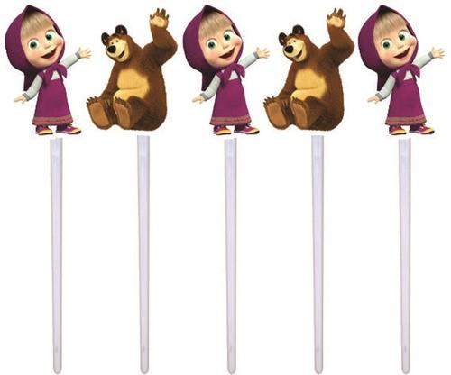 Kit festa Masha e o Urso (pink e amarelo) 99 peças (10 pessoas)