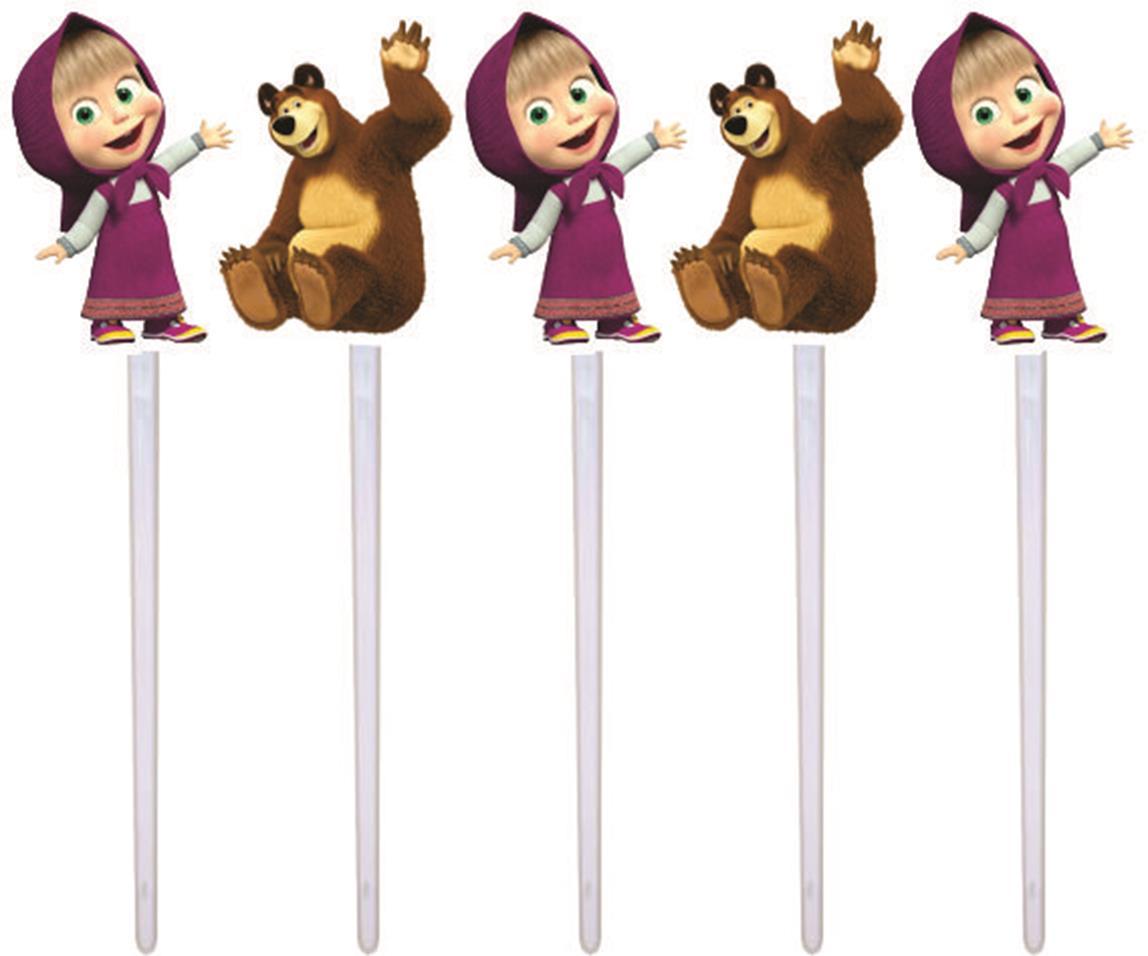 Kit Festa Masha E O Urso (pink E Lilás) 106 Peças (10 pessoas)