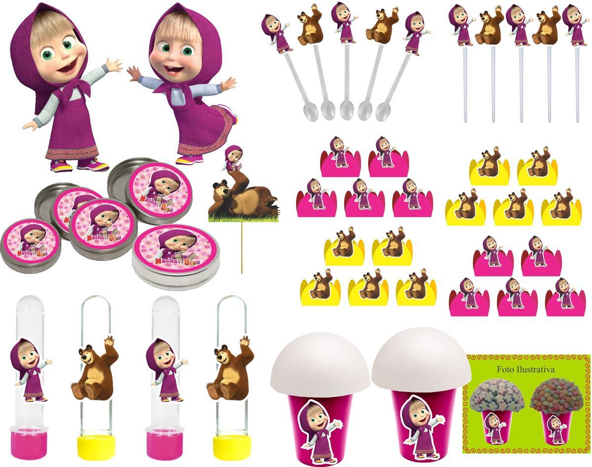 Kit Festa Masha E Urso (pink E Amarelo) 143 Peças (20 pessoas)