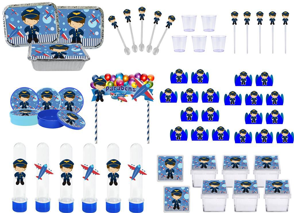 Kit festa Menino Aviador 191 peças (20 pessoas)