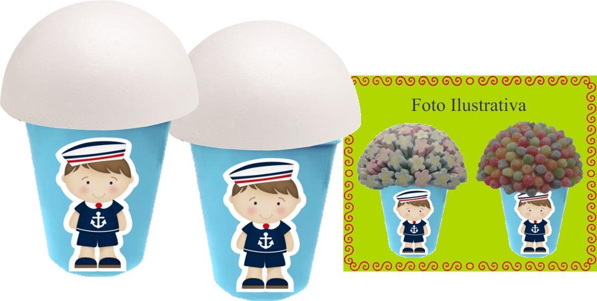 Kit Festa Menino Marinheiro (azul claro) 99 peças (10 pessoas)