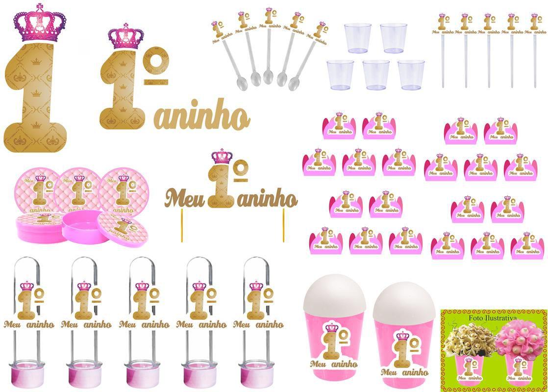 Kit festa Meu 1º aninho Realeza menina 105 peças (10 pessoas)
