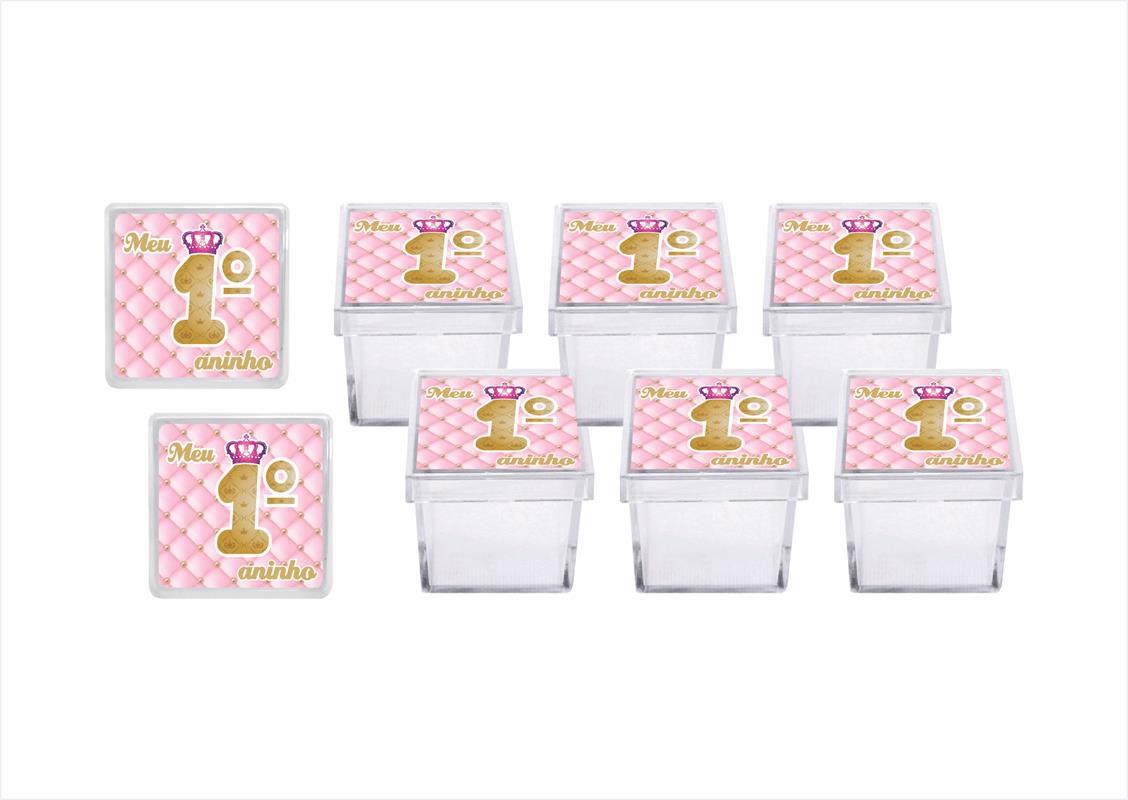 Kit festa Meu 1º aninho Realeza menina 113 peças (10 pessoas)