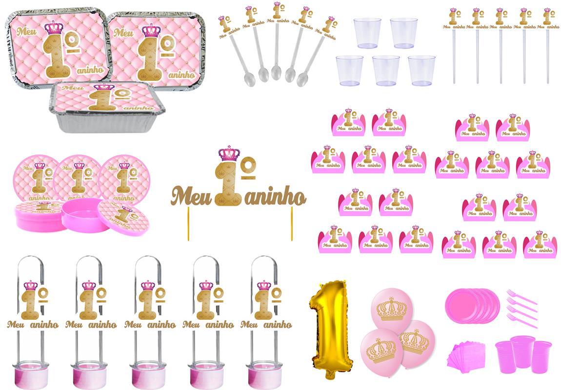Kit festa Meu 1º aninho Realeza menina 307 peças (20 pessoas)