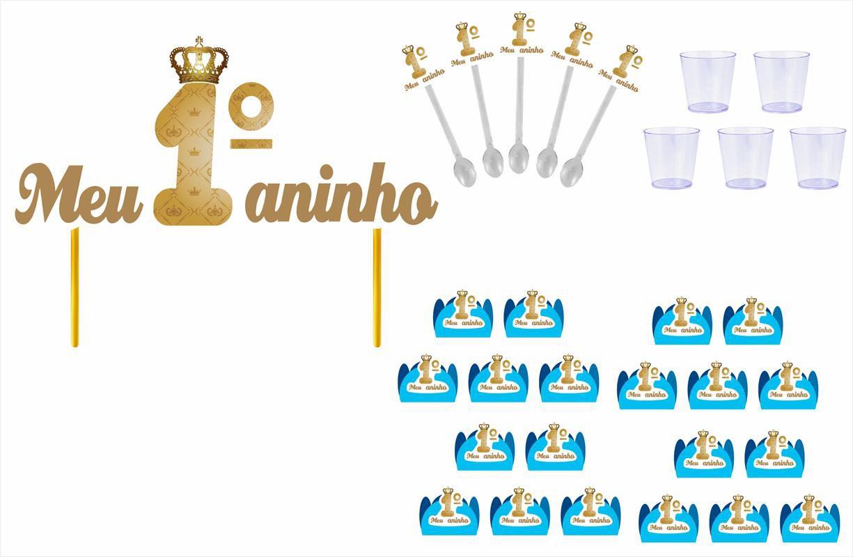 Kit festa Meu 1º aninho Realeza menino 113 peças (10 pessoas)
