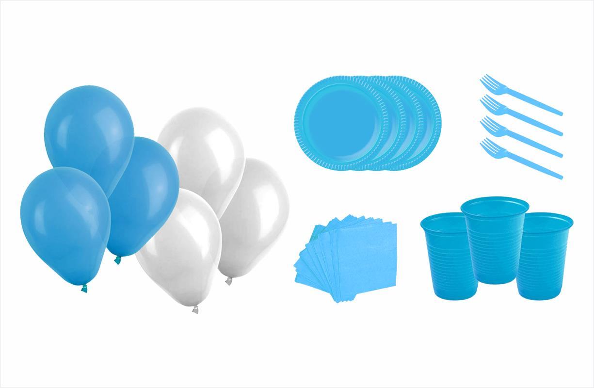 Kit festa Meu 1º aninho Realeza menino 363 peças (20 pessoas)