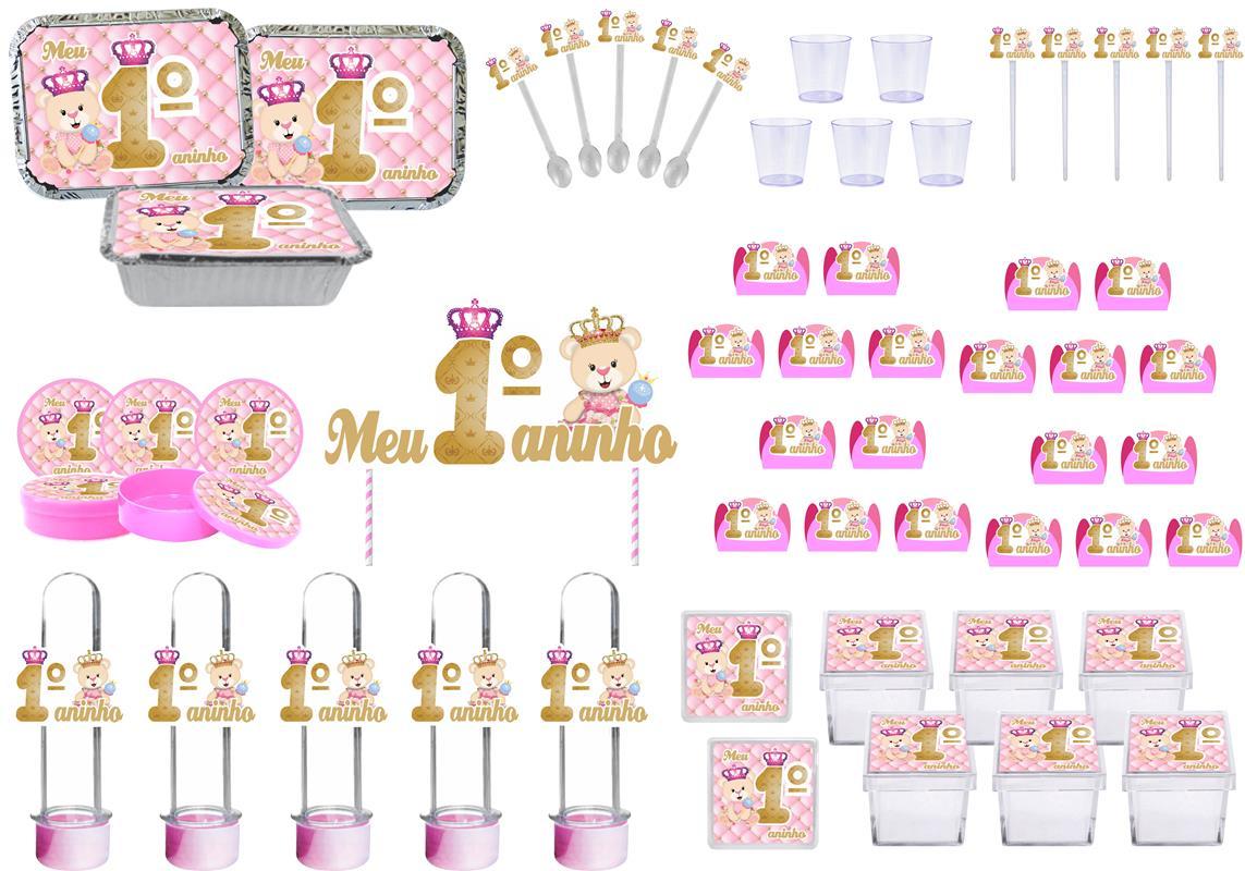 Kit festa Meu 1º aninho Ursinha Princesa 121 peças (10 pessoas)