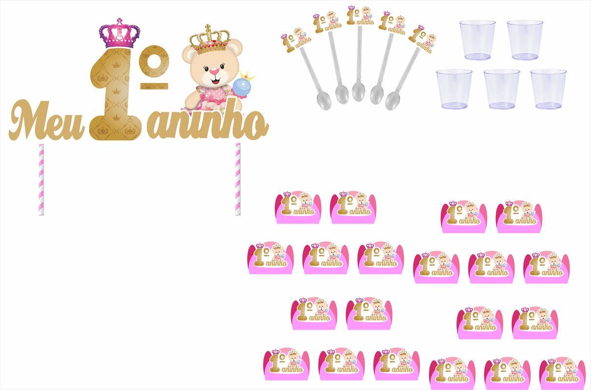 Kit festa Meu 1ºaninho Ursinha Princesa 155 peças  20 pessoas
