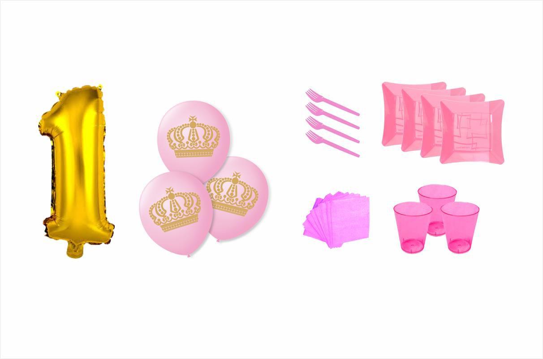 Kit festa Meu 1º aninho Ursinha Princesa 307 peças (20 pessoas)