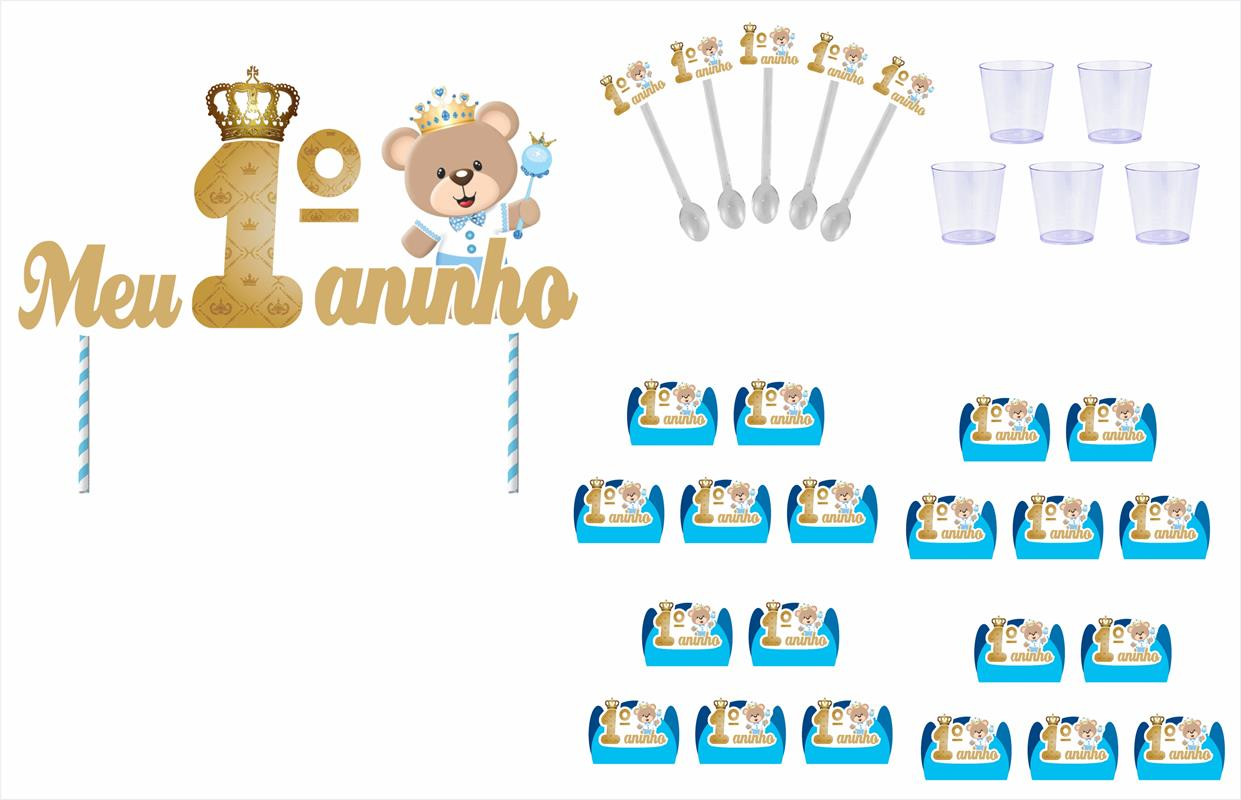 Kit festa Meu 1º aninho Ursinho principe 105 peças (10 pessoas)