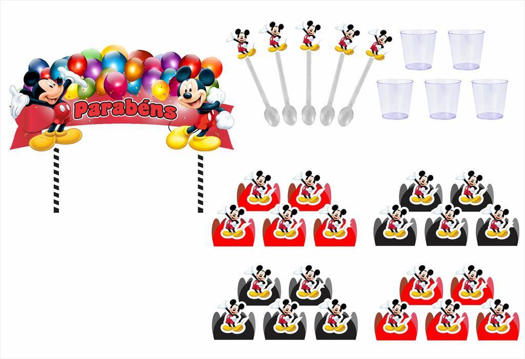 Kit festa Mickey 173 peças (20 pessoas)