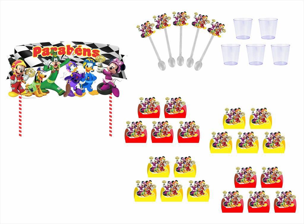 Kit festa Mickey Aventura Sobre Rodas 105 peças (10 pessoas)