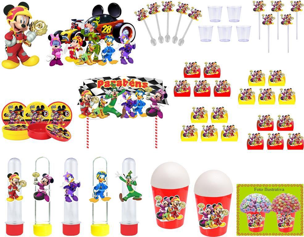 Kit festa Mickey Aventura Sobre Rodas 155 peças (20 pessoas)