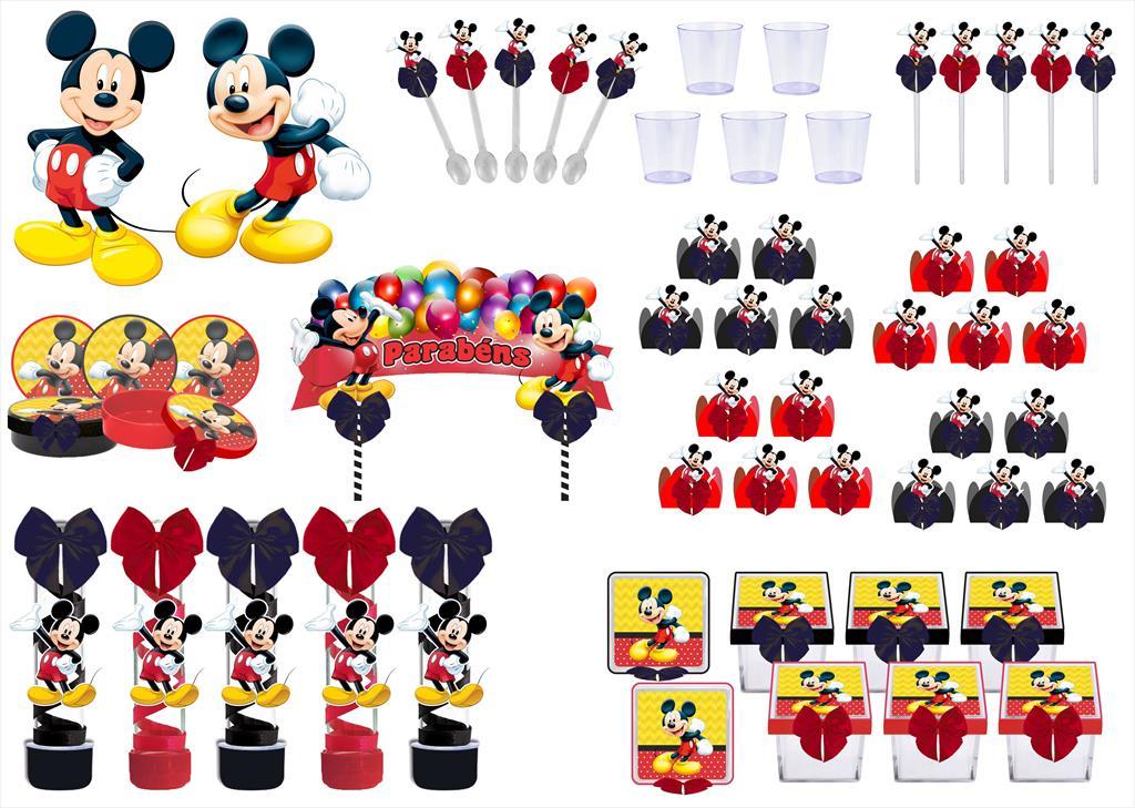 Kit festa decorado Mickey  173 peças (20 pessoas)