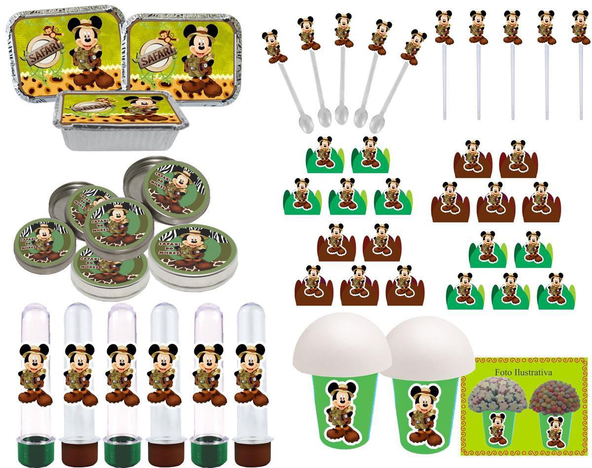 Kit festa Mickey Safari 106 peças (10 pessoas)