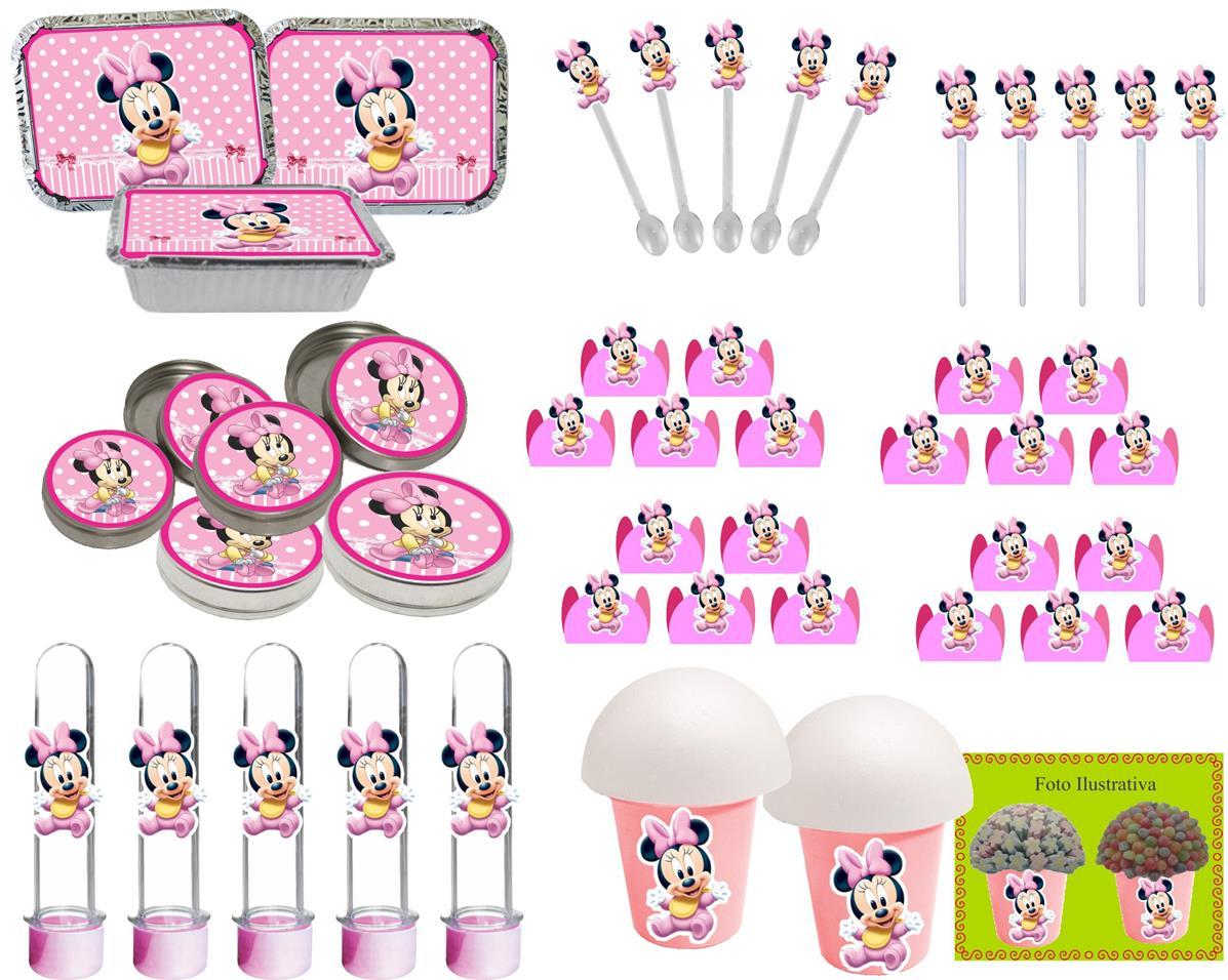 Kit  festa Minnie Baby rosa 292 Peças (30 pessoas)