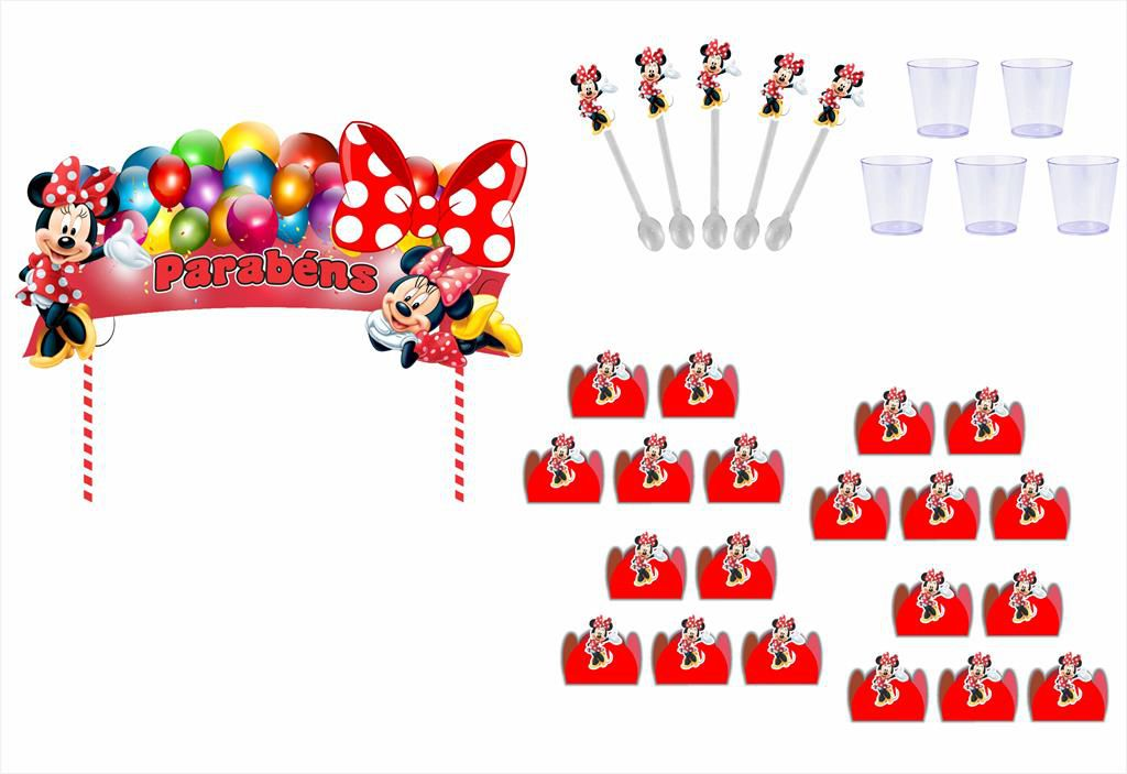 Kit festa Minnie Vermelha 113 peças (10 pessoas)