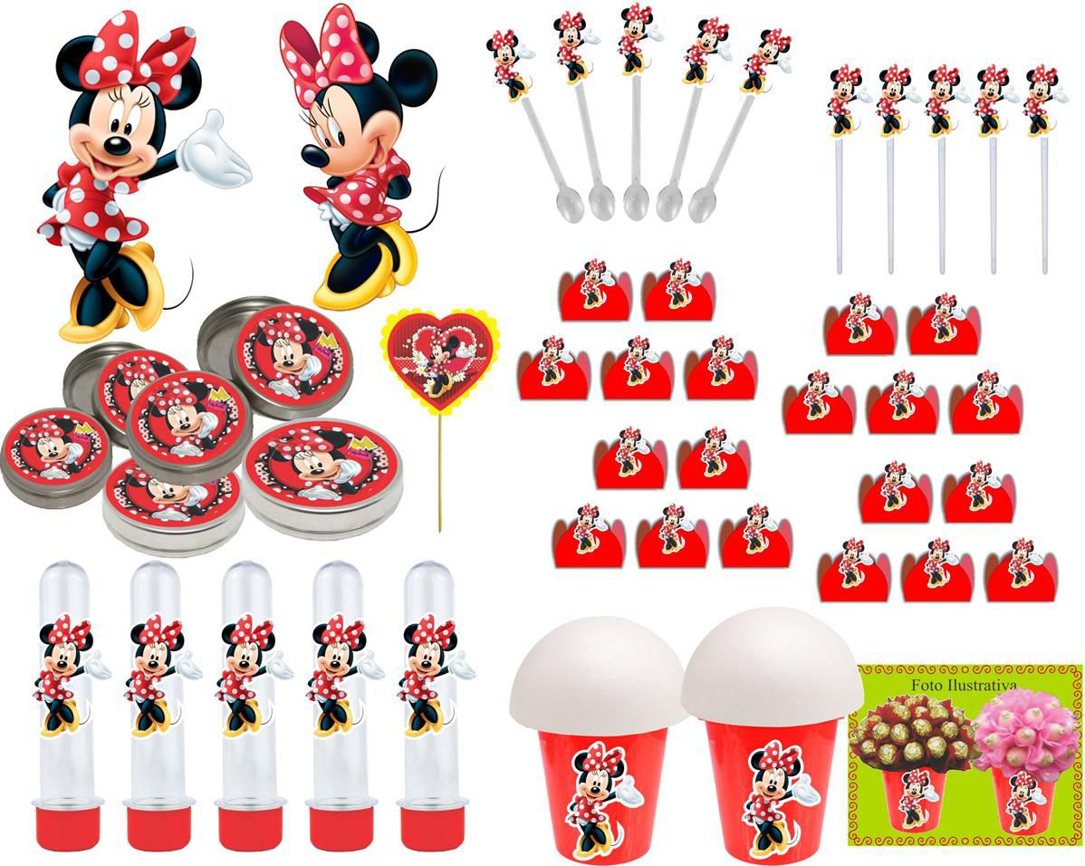 Kit Festa Minnie Vermelha 265 Peças (30 pessoas)