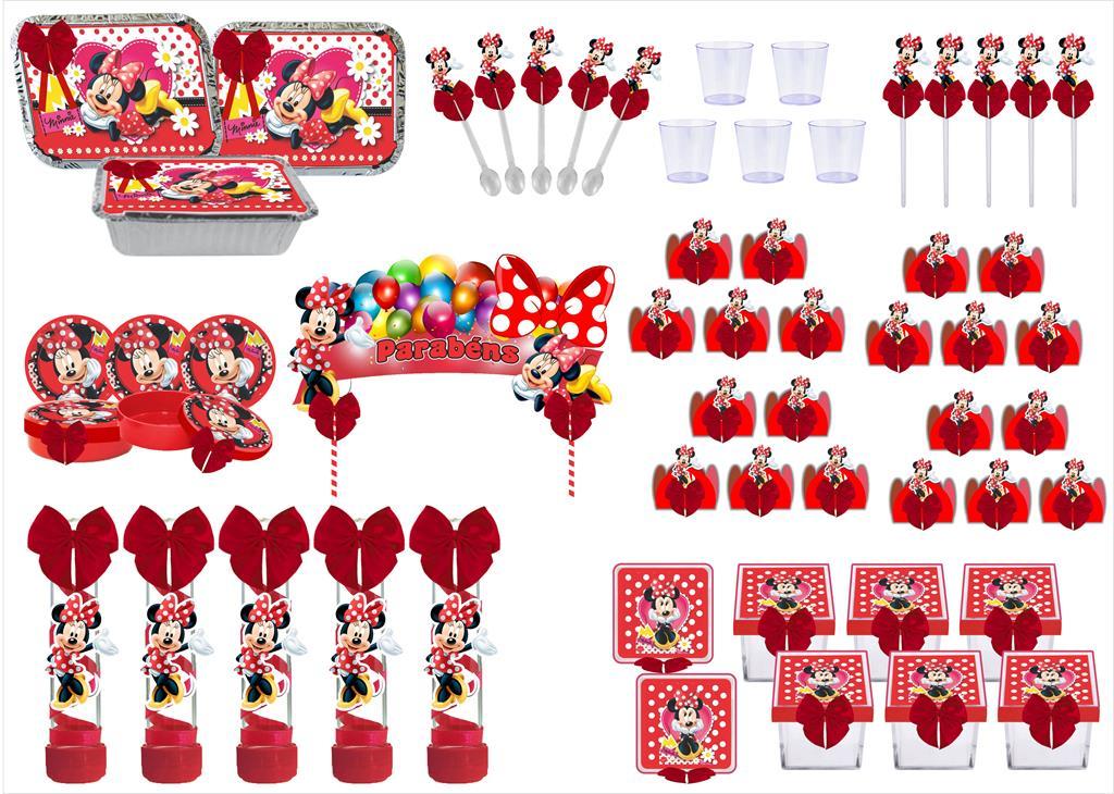 Kit festa decorado Minnie vermelha  121 peças (10 pessoas)