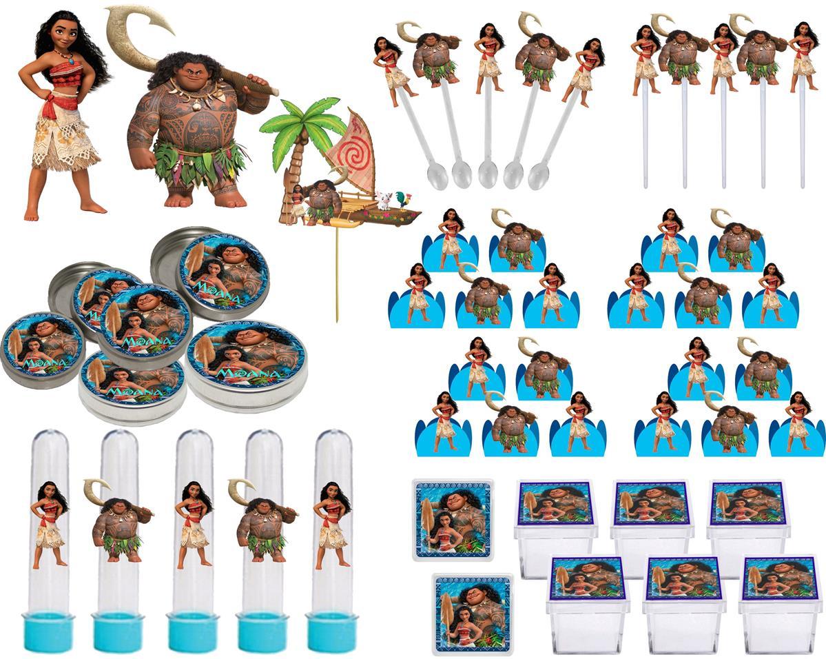 Kit festa Moana 107 peças (10 pessoas)