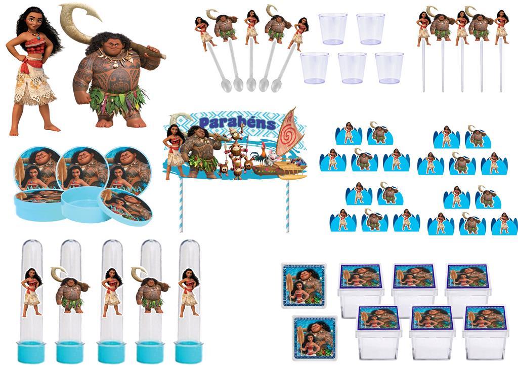 Kit festa Moana 173 peças (20 pessoas)
