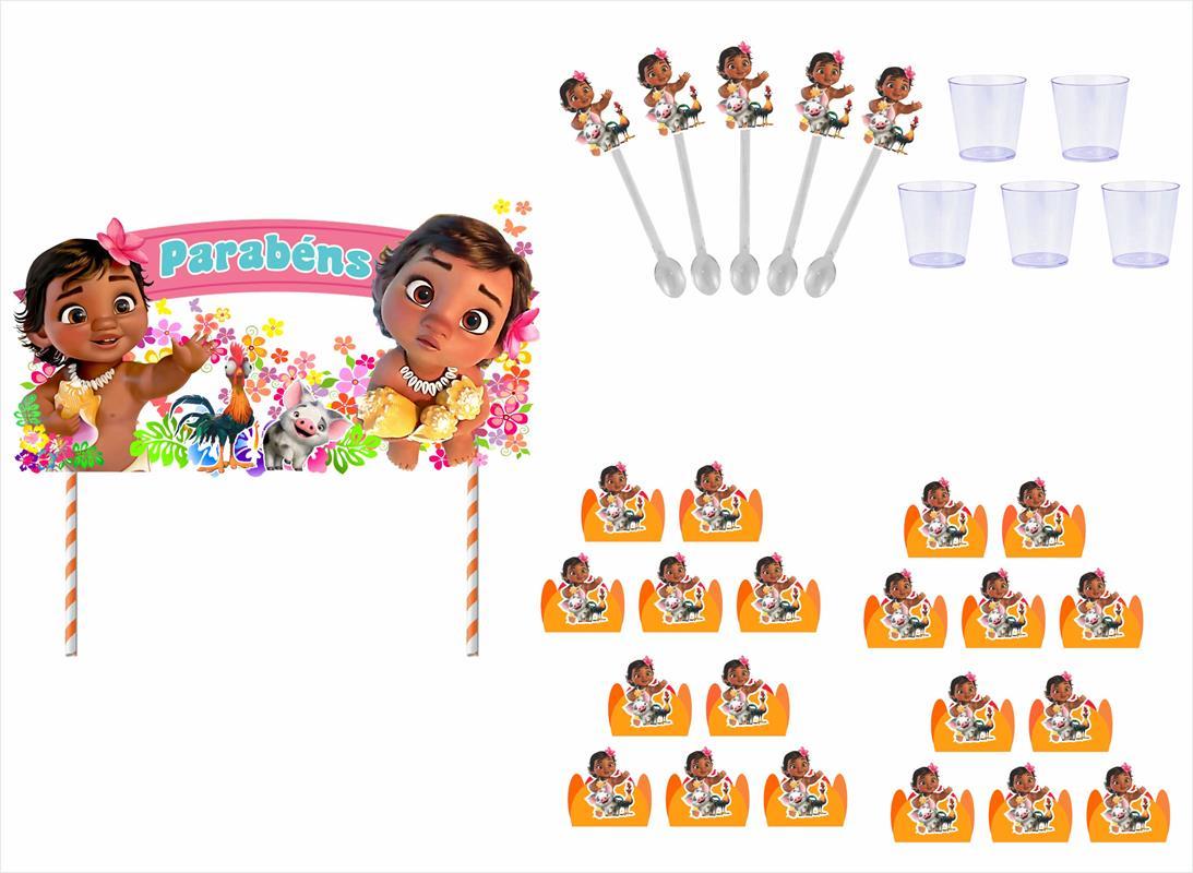 Kit festa Moana Baby (laranja) 191 peças (20 pessoas)