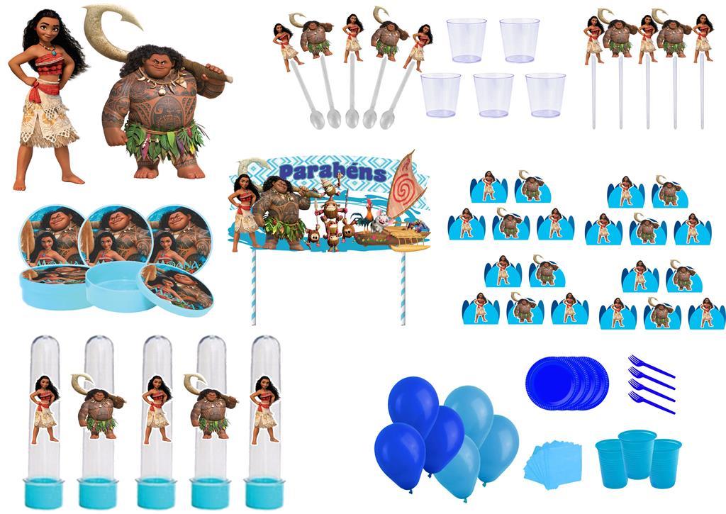 Kit festa Moana 363 peças (20 pessoas)