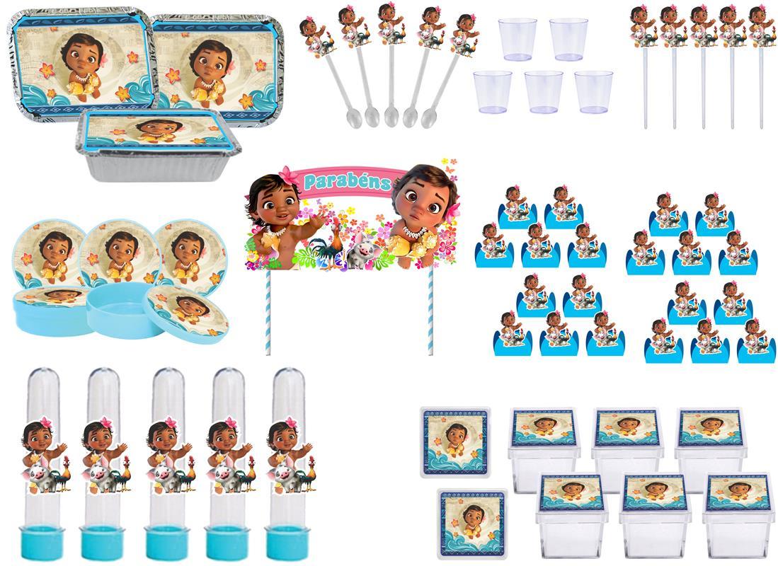 Kit festa Moana Baby 121 peças (10 pessoas)