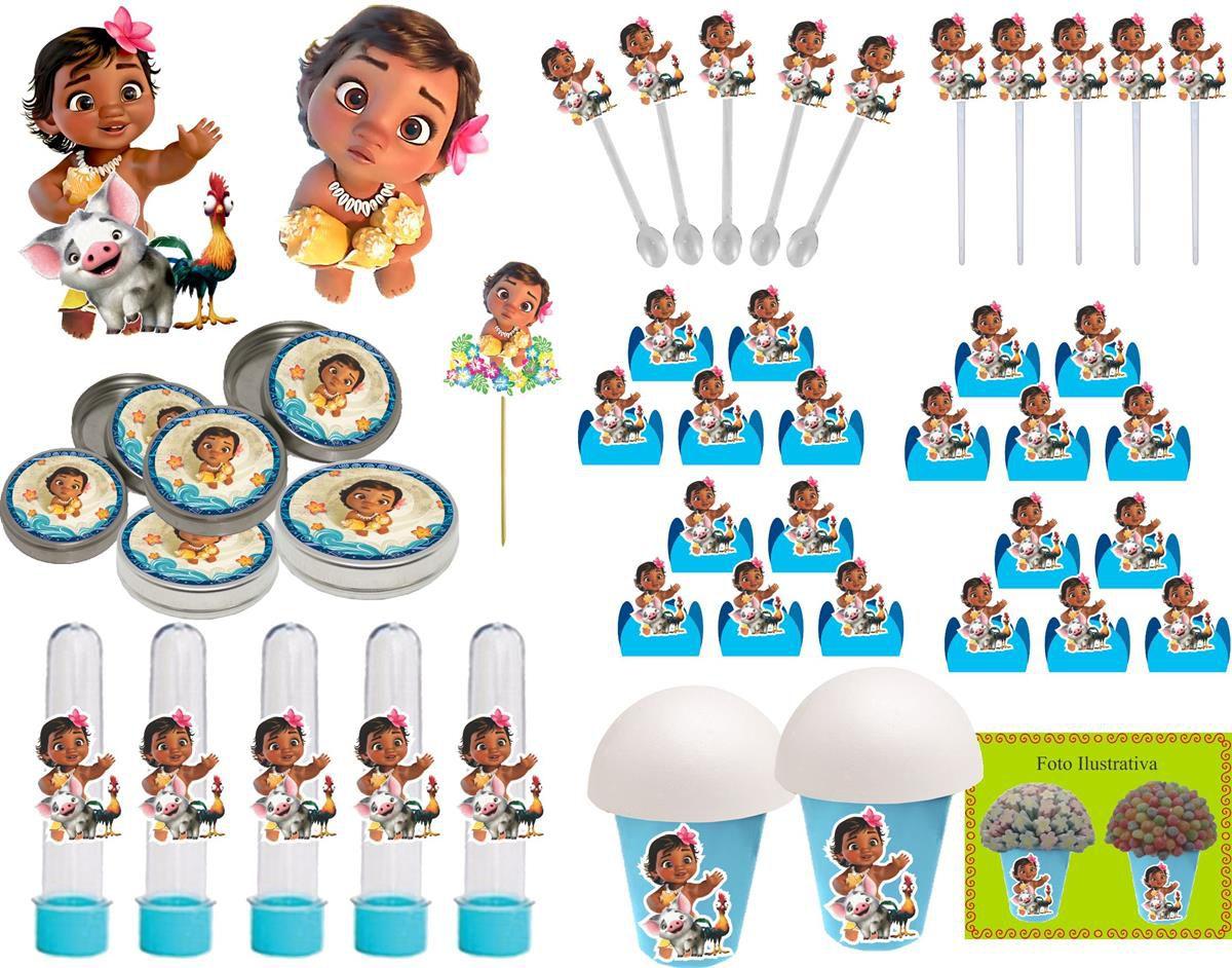 Kit festa Moana Baby 143 Peças (20 pessoas)