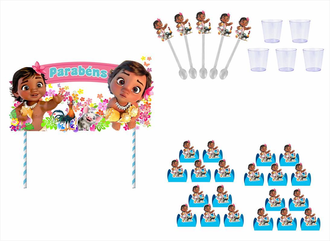 Kit festa Moana Baby 363 Peças (20 pessoas)
