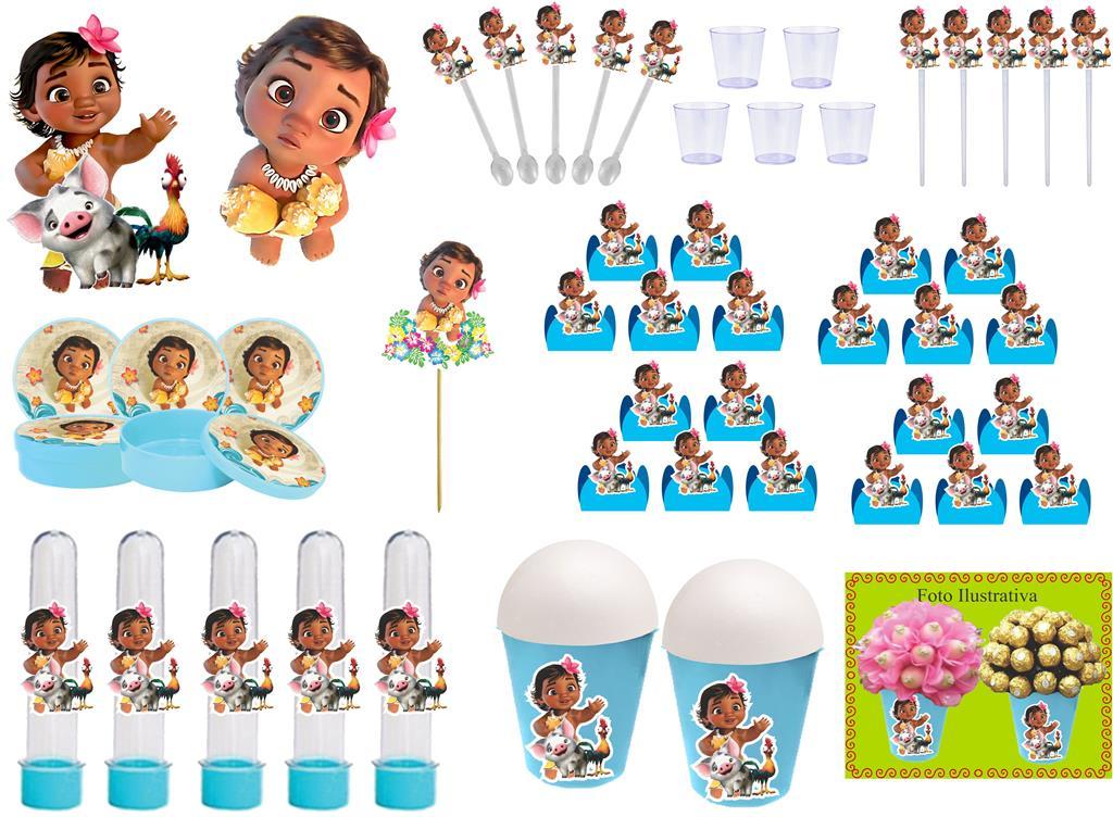Kit festa Moana Baby (azui claro) 255 peças  (30 pessoas)