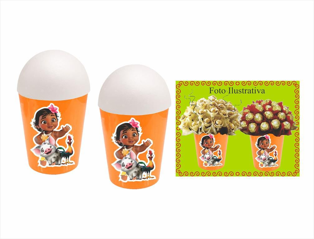 Kit festa Moana Baby (laranja) 105 peças (10 pessoas)