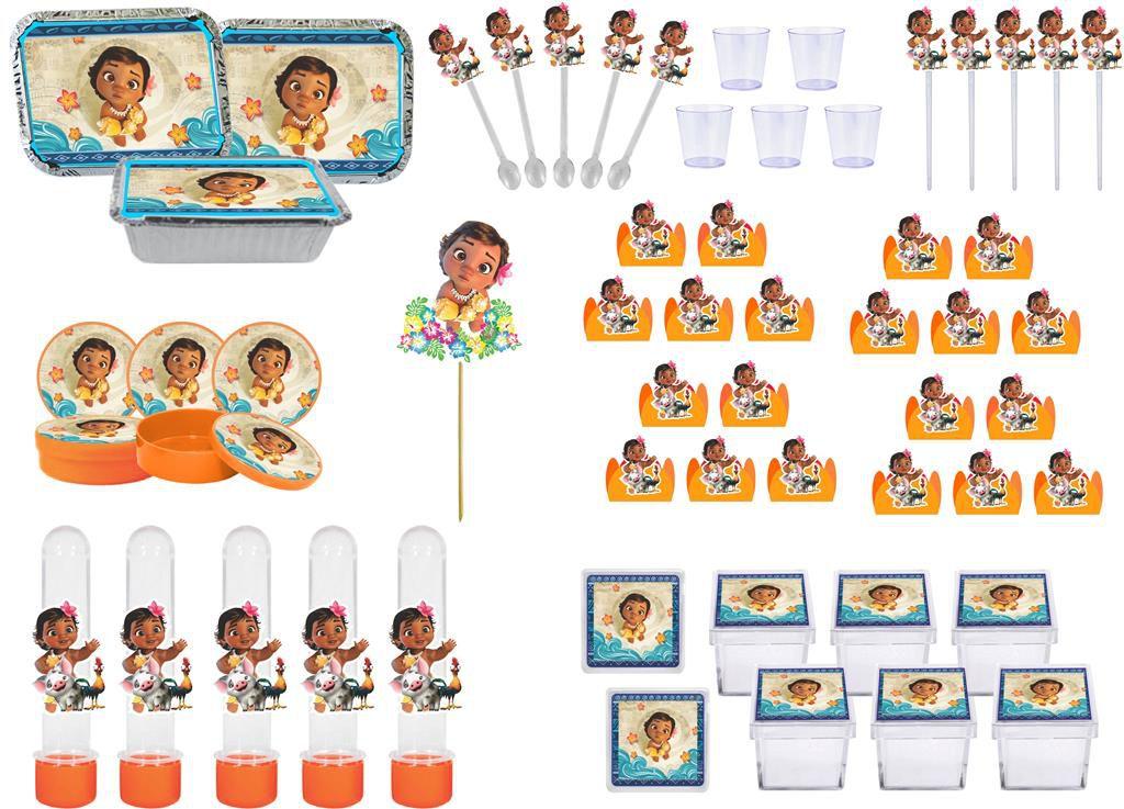 Kit festa Moana Baby (laranja) 121 peças (10 pessoas)