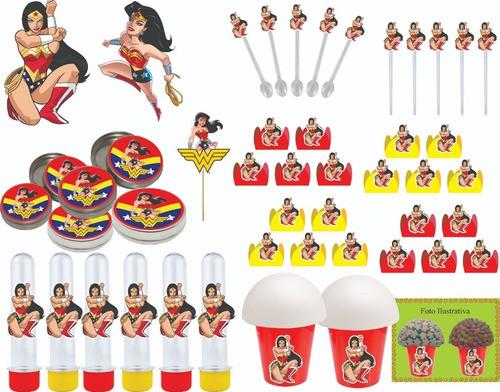 Kit festa Mulher Maravilha 99 peças (10 pessoas)