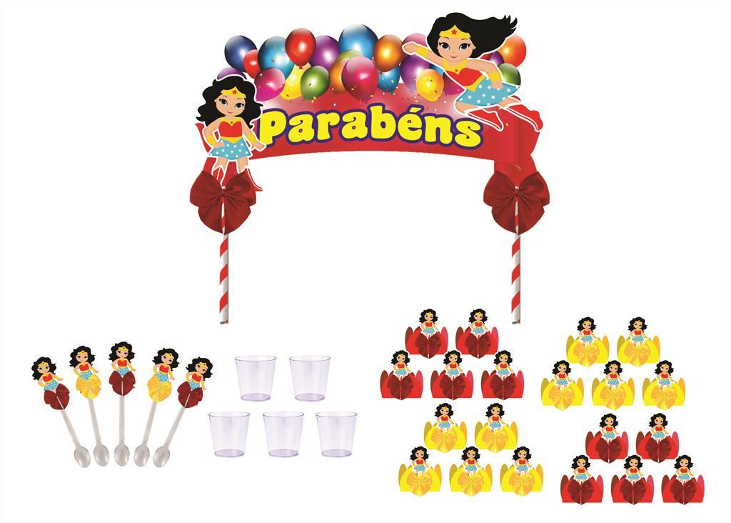 Kit festa decorado  Mulher Maravilha Baby 121 peças (10 pessoas)