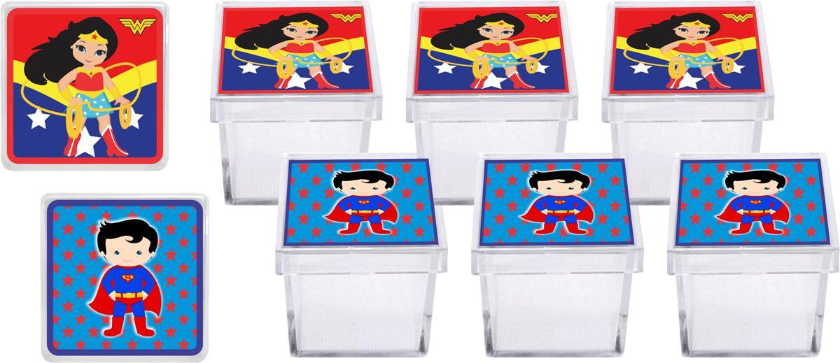 Kit festa Mulher Maravilha Baby e Super Man Baby 111 peças (10 pessoas)