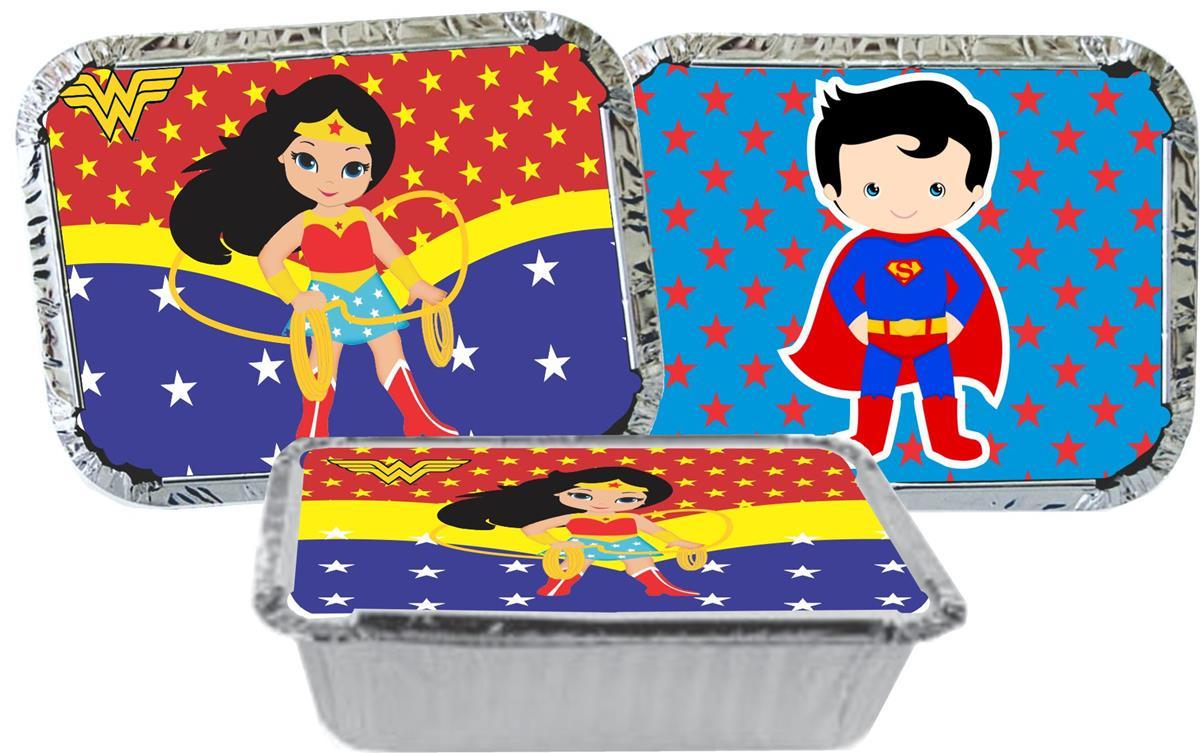 Kit festa Mulher Maravilha Baby e Super Man Baby 155 pças com vaso  (20 pessoas)