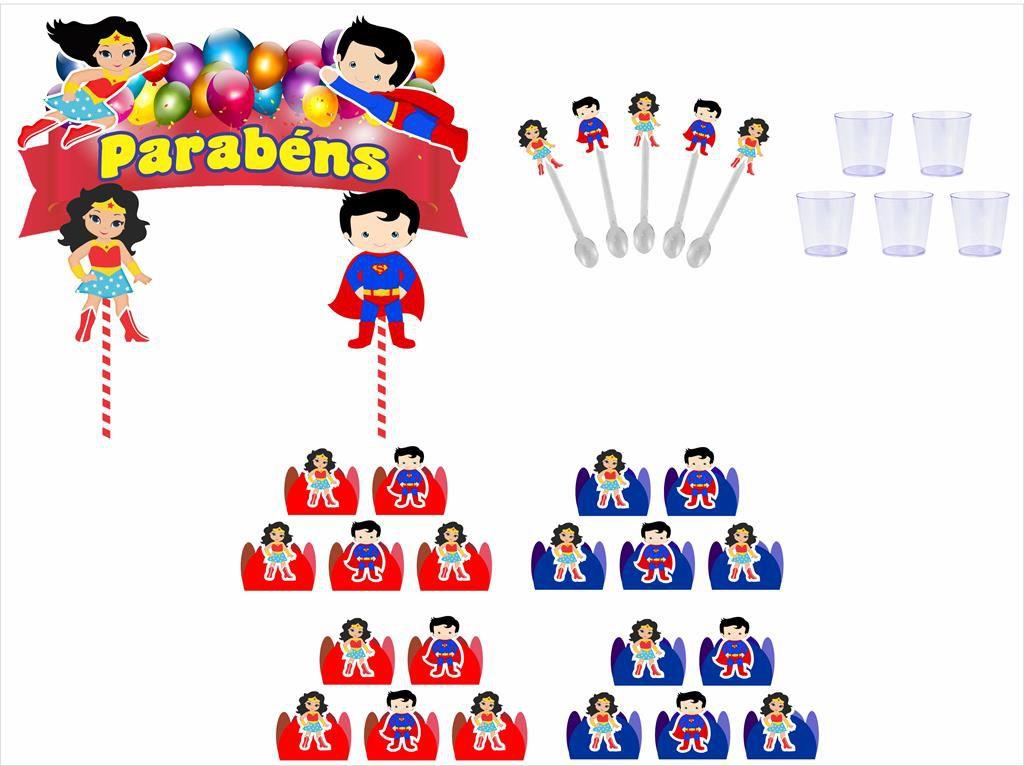 Kit festa Mulher Maravilha Baby e Super Man Baby 61 peças