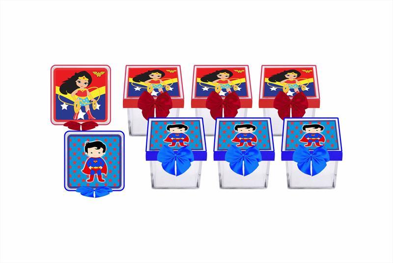 Kit festa decorado  Mulher Maravilha Baby e Super Man Baby 191 peças (20 pessoas)