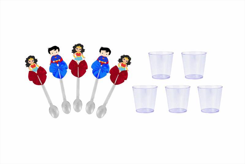 Kit festa decorado Mulher Maravilha Baby  e Super Man Baby  61 peças