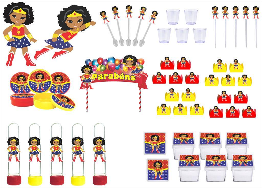 Kit Festa Mulher Maravilha Baby Morena 173 Peças (20 pessoas)