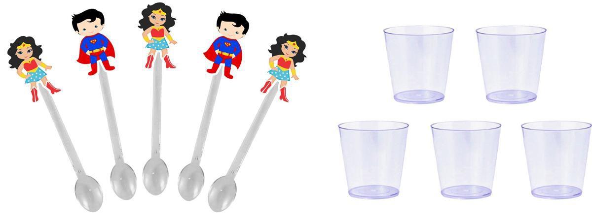 Kit festa Mulher Maravilha e Super Man Baby 155 peças (20 pessoas)