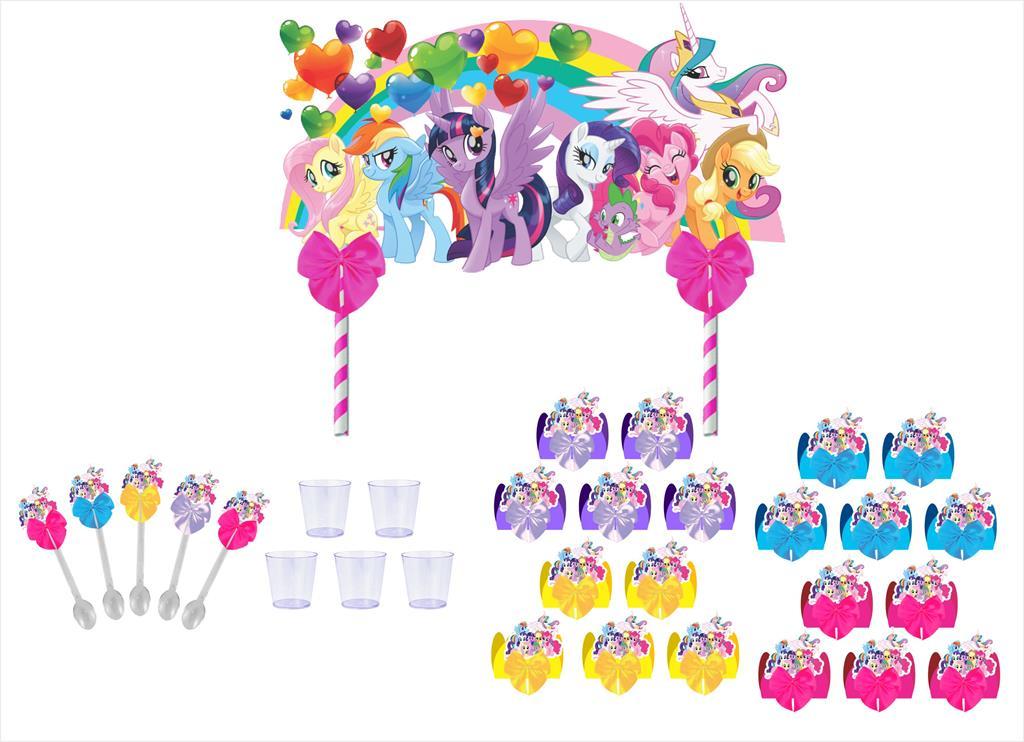 Kit festa decorado My Little Pony  121 peças (10 pessoas)