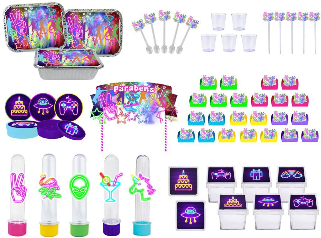 Kit festa Neon 121 peças (10 pessoas)