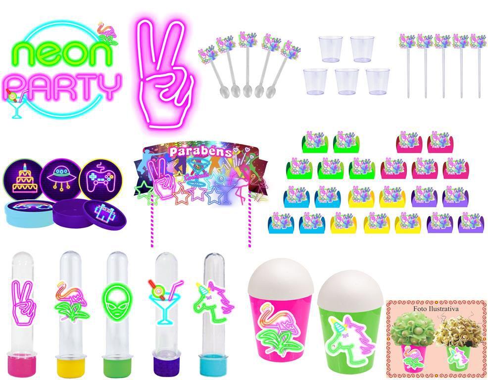 Kit festa Neon 155 peças (20 pessoas)
