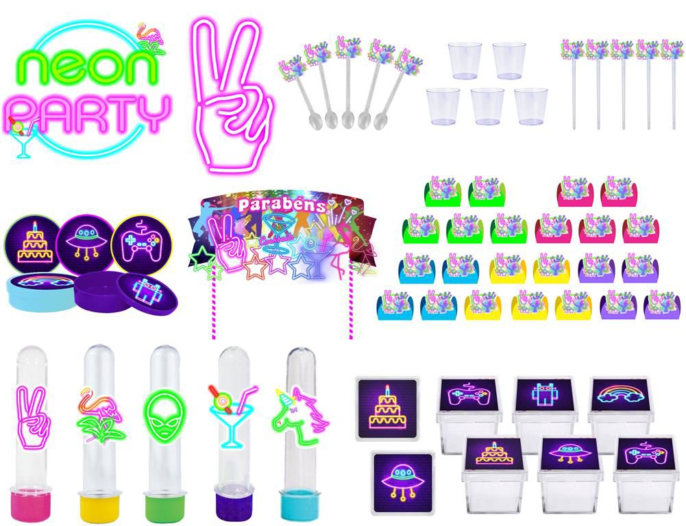 Kit festa Neon 173 peças (20 pessoas)