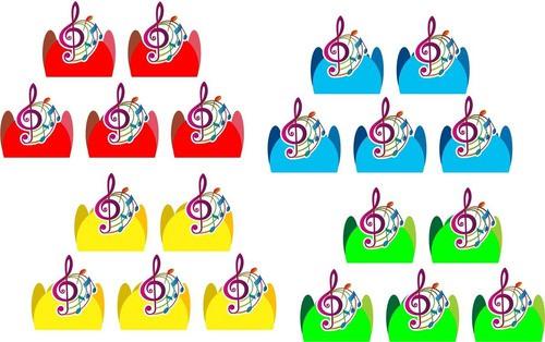 kit festa Notas Musicais (colorido) 99 peças (10 pessoas)