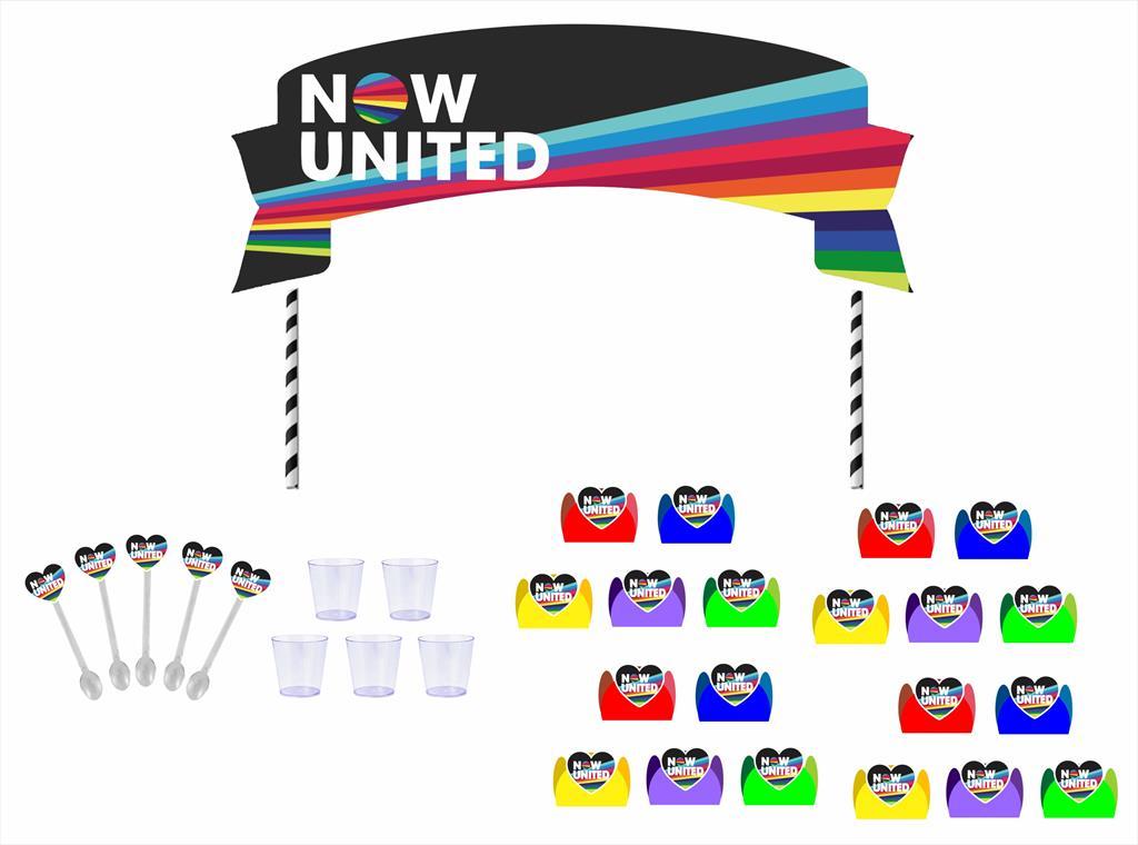 Kit festa Now United (colorido) 105 peças (10 pessoas)