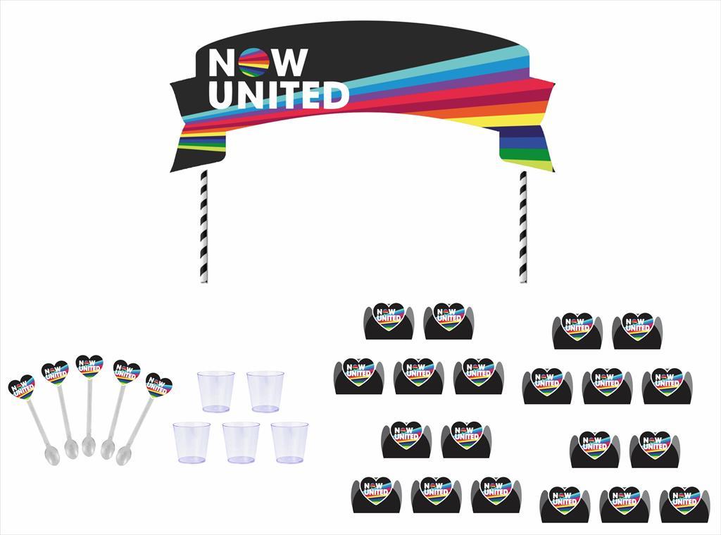 Kit festa Now United (preto) 105 peças (10 pessoas)